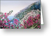 Sea Flowers Greeting Cards - Positano Italy Greeting Card by Irina Sztukowski