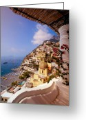Church Photo Greeting Cards - Positano View Greeting Card by Neil Buchan-Grant