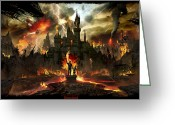 Environment Greeting Cards - Post Apocalyptic Disneyland Greeting Card by Alex Ruiz