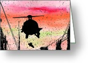 Devastation Greeting Cards - Post Apocalyptic Helicopter Skyline Greeting Card by Jera Sky