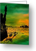 City Of Water Drawings Greeting Cards - Post Apocalyptic New York Skyline Greeting Card by Jera Sky
