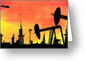 Buildings Drawings Greeting Cards - Post Apocalyptic Oil Skyline Greeting Card by Jera Sky
