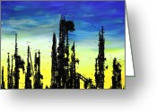 Buildings Drawings Greeting Cards - Post Apocalyptic Skyline 2 Greeting Card by Jera Sky