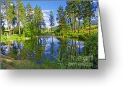 National Mixed Media Greeting Cards - Post Falls - Scenic Idaho Reflections Greeting Card by Photography Moments - Sandi
