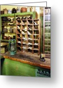 Hurricane Lamps Greeting Cards - Post Office in General Store Greeting Card by Susan Savad