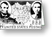 Postage Stamp Greeting Cards - Postage Stamp: U.s. & China Greeting Card by Granger