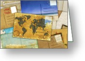Vintage Map Digital Art Greeting Cards - Postcard And Old Papers Greeting Card by Setsiri Silapasuwanchai