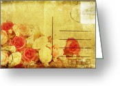 Backside Greeting Cards - Postcard With Floral Pattern Greeting Card by Setsiri Silapasuwanchai