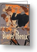 Orange Grey Greeting Cards - Poster advertising Phenix beer Greeting Card by Adolf Hohenstein