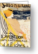 Toulouse-lautrec Greeting Cards - Poster advertising the Exposition Internationale dAffiches Paris Greeting Card by Henri de Toulouse-Lautrec