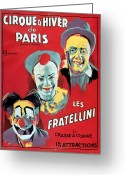 Litho Greeting Cards - Poster advertising the Fratellini Clowns Greeting Card by French School