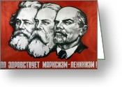 Philosophy Greeting Cards - Poster depicting Karl Marx Friedrich Engels and Lenin Greeting Card by Unknown