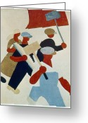 Russian Revolution Greeting Cards - Poster Depicting Marching Protestors During Russian Revolution Greeting Card by Photos.com