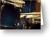 Drum Sticks Greeting Cards - Posterized Drum Set Image Greeting Card by Rebecca Brittain