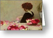 Red Roses Greeting Cards - Pot Pourri Greeting Card by Herbert James Draper