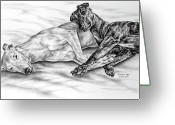 Pencil Drawing Drawings Greeting Cards - Potato Chips - Two Greyhound Dogs Print Greeting Card by Kelli Swan