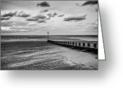 Windy Greeting Cards - Potobello beach and drifting sands Greeting Card by John Farnan