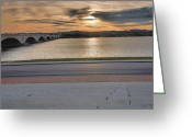 Cities Greeting Cards - Potomac River and Memorial Bridge Greeting Card by Steven Ainsworth