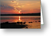 Landscape Framed Print Greeting Cards - Potomac River Sunrise I  Greeting Card by Steven Ainsworth