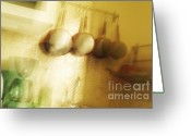 Utensil Greeting Cards - Pots and pans hanging in a domestic kitchen Greeting Card by Sami Sarkis