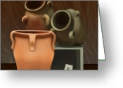 Jugs Greeting Cards - Pots of Clay Greeting Card by Sena Wilson