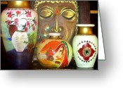 Glass Ceramics Greeting Cards - Pots Greeting Card by Xafira Mendonsa