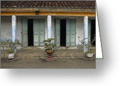 Tiled Roof Greeting Cards - Potted Plants in Front of a Weathered Building Greeting Card by Skip Nall