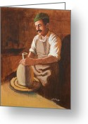 Throwing A Pot Greeting Cards - Potters Wheel Greeting Card by J W Kelly