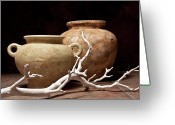 Clay Greeting Cards - Pottery With Branch I Greeting Card by Tom Mc Nemar