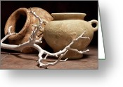 Clay Greeting Cards - Pottery With Branch II Greeting Card by Tom Mc Nemar