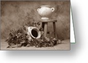 Pottery Photo Greeting Cards - Pottery With Ivy I Greeting Card by Tom Mc Nemar