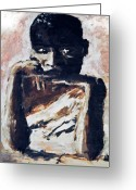 African American Artist Photo Greeting Cards - Poverty sits by the cradle Greeting Card by Laura Pineda