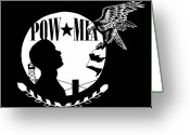 Freedom Fighter Brand Greeting Cards - Pow Mia Greeting Card by Scarlett Royal