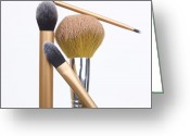 Make-up Photo Greeting Cards - Powder and make-up brushes Greeting Card by Bernard Jaubert