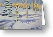 Ski Art Painting Greeting Cards - Powder Shot Greeting Card by Zanobia Shalks