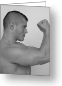 Male Physique Greeting Cards - Power and Muscle Greeting Card by Jake Hartz
