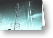 Lines Photo Greeting Cards - Power lines Greeting Card by Jay Reed