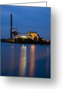 Coal  Greeting Cards - Power Plant Greeting Card by Adam Romanowicz