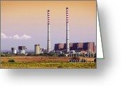 Pollute Greeting Cards - Power Plant Greeting Card by Carlos Caetano