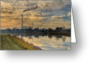 Vapor Greeting Cards - Power Plant Greeting Card by Gert Lavsen