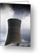 Pollute Greeting Cards - Power Station Cooling Tower Greeting Card by Jacobs Stock Photography