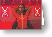 Red Woman Greeting Cards - Power Greeting Card by Yulonda Rios