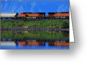Freight Greeting Cards - Powering Across Greeting Card by Benjamin Yeager