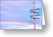 Queensland Photo Greeting Cards - Powerlines Against Rainbow Sky Greeting Card by Nikki Yetman