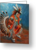 Southwest Greeting Cards - PowWow Dancer Greeting Card by Theresa Paden