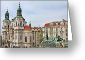 Prague Greeting Cards - Prague - St Nicholas Church Old Town Square Greeting Card by Christine Till