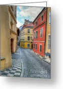 Cityspace Greeting Cards - Prague alleyway Greeting Card by Michal Boubin