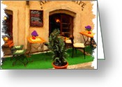 Czech Republic Digital Art Greeting Cards - prague Cafe Greeting Card by Martin  Fry