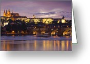 Clock Greeting Cards - Prague Castle and Charles Bridge Greeting Card by Andre Goncalves