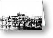 Vltava Digital Art Greeting Cards - Prague castle and Charles bridge Greeting Card by Michal Boubin